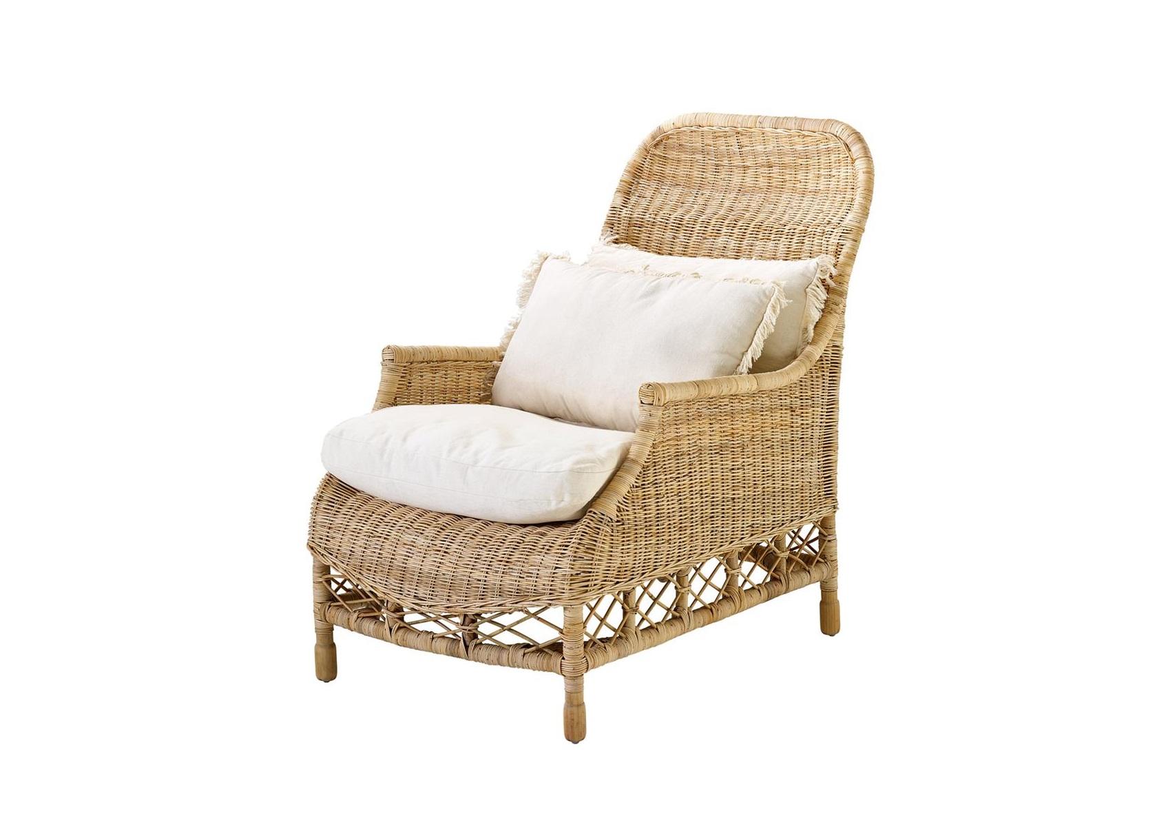 КреслоКресла для сада<br>Кресло Chair Empire выполнено из натурального ротанга. Мягкая сидушка обтянута тканью молочного цвета. Состав: 100% хлопок.<br><br>Material: Ротанг<br>Width см: 63<br>Depth см: 86<br>Height см: 102