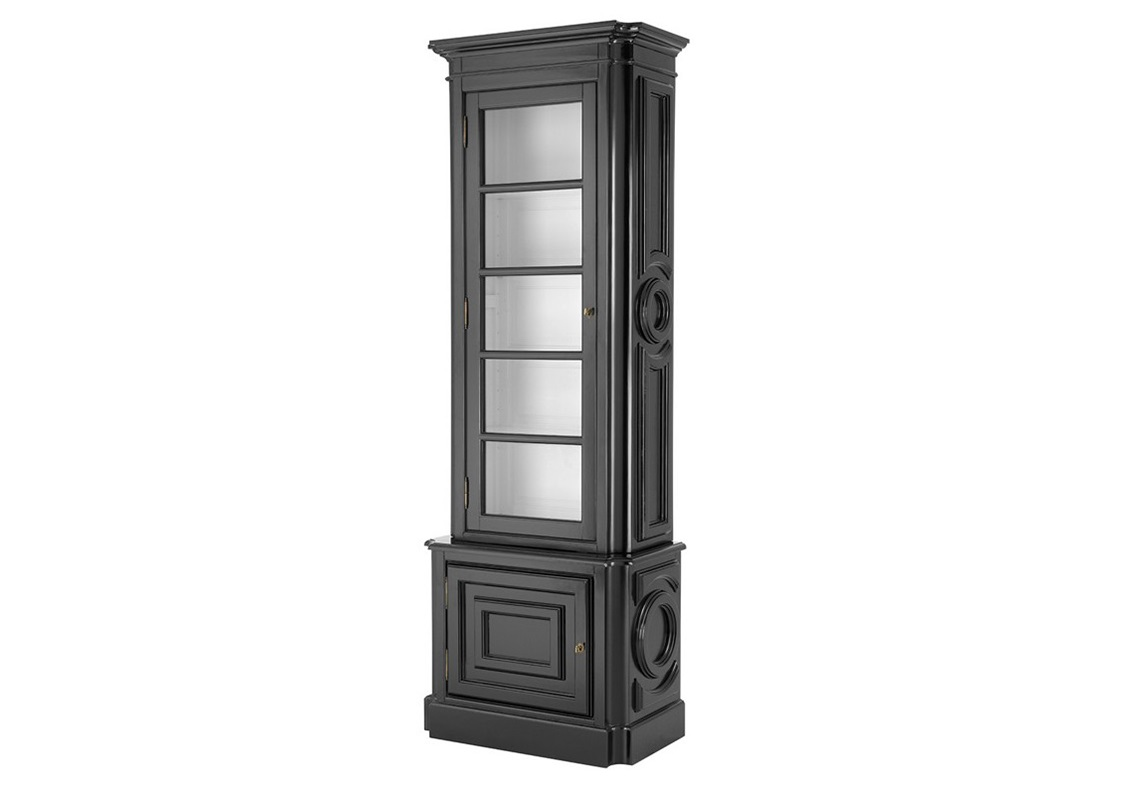 ВитринаВитрины<br>Витрина Cabinet Splendor Left выполнена из дерева черного цвета. Внутри витрина белого цвета. Стеклянная створка открывается влево.<br><br>Material: Дерево<br>Ширина см: 83<br>Высота см: 238<br>Глубина см: 46