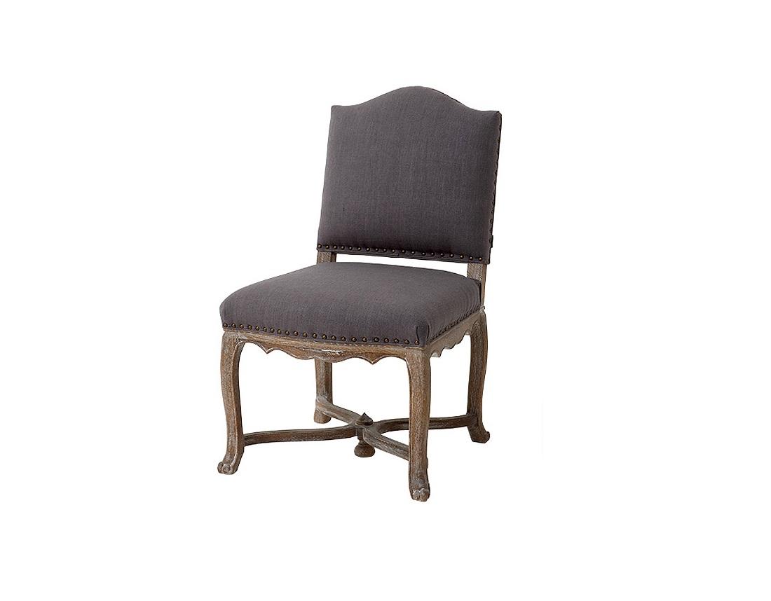 СтулОбеденные стулья<br>Мягкий стул Virginie на деревянных ножках из состаренного дуба коричневого цвета. Стул обтянут льняной тканью серого цвета. Декорирован металлическими заклепками.&amp;amp;nbsp;&amp;lt;div&amp;gt;&amp;lt;br&amp;gt;&amp;lt;/div&amp;gt;&amp;lt;div&amp;gt;Состав: 28% лён, 18% полиэстер, 54% вискоза.&amp;lt;/div&amp;gt;<br><br>Material: Дерево<br>Ширина см: 56<br>Высота см: 96<br>Глубина см: 64