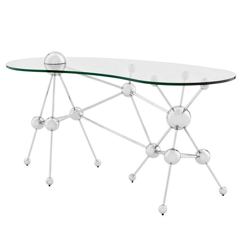 СтолПисьменные столы<br>Письменный стол Desk Table Galileo на основании из нержавеющей стали с оригинальным дизайном в научном стиле. Столешница выполнена из плотного прозрачного стекла.<br><br>Material: Стекло<br>Ширина см: 160<br>Высота см: 76<br>Глубина см: 75