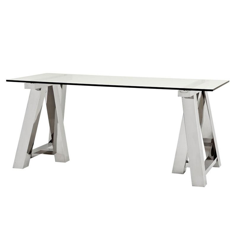 СтолОбеденные столы<br>Письменный стол Desk Table Marathon на основании из полированной нержавеющей стали. Столешница выполнена из плотного прозрачного стекла.<br><br>Material: Стекло<br>Ширина см: 180<br>Высота см: 78<br>Глубина см: 80