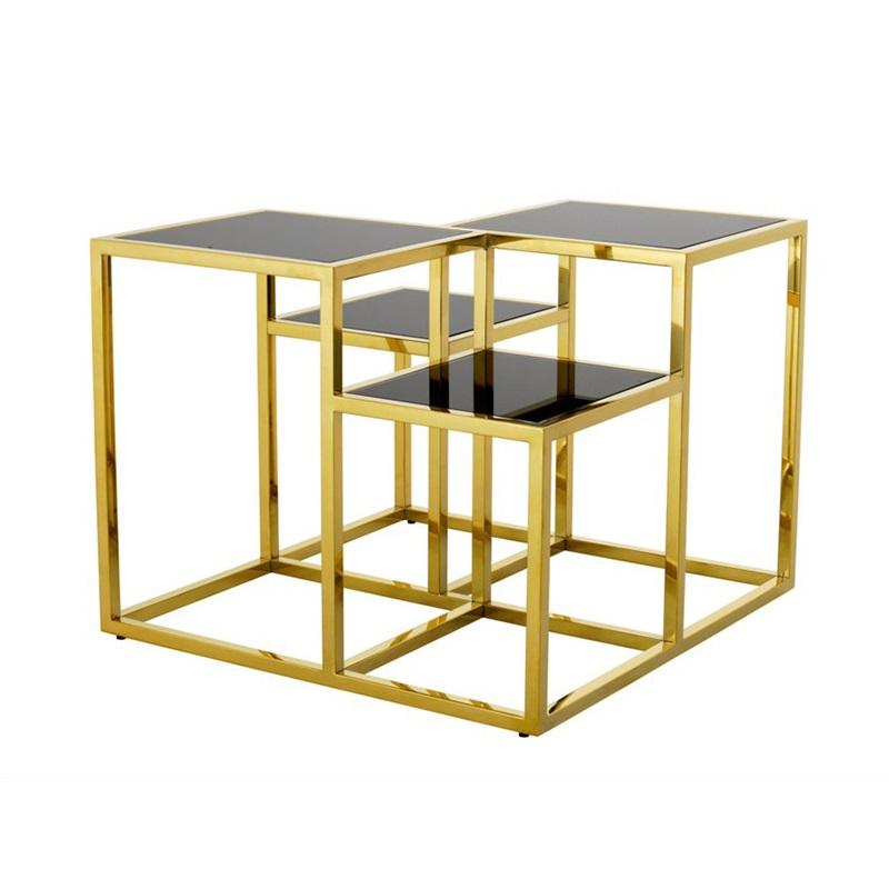 Стол \Журнальные столики<br>Столик Side Table Smythson на металлическом основании золотого цвета. Полки выполнены из плотного стекла дымчатого цвета.<br><br>Material: Стекло<br>Ширина см: 65<br>Высота см: 50<br>Глубина см: 65