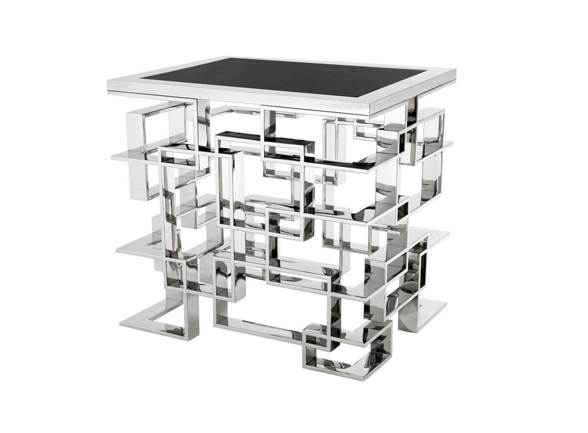 СтолЖурнальные столики<br>Столик Side Table Spectre на основании из полированной нержавеющей стали. Столешница выполнена из гранита черного цвета.<br><br>Material: Мрамор<br>Ширина см: 50<br>Высота см: 60.0<br>Глубина см: 65.0