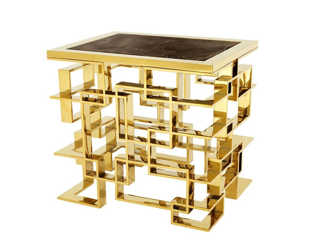 СтолЖурнальные столики<br>Столик Side Table Spectre на металлическом основании золотого цвета. Столешница выполнена из мрамора коричневого цвета.<br><br>Material: Мрамор<br>Ширина см: 50<br>Высота см: 60.0<br>Глубина см: 65.0