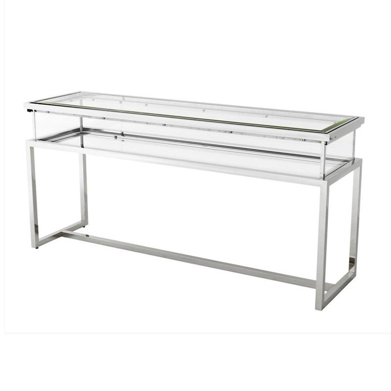 КонсольИнтерьерные консоли<br>Консоль Console Table Harvey на основании из полированной нержавеющей стали. Столешница выполнена из плотного прозрачного стекла.<br><br>Material: Стекло<br>Width см: 160<br>Depth см: 45<br>Height см: 77