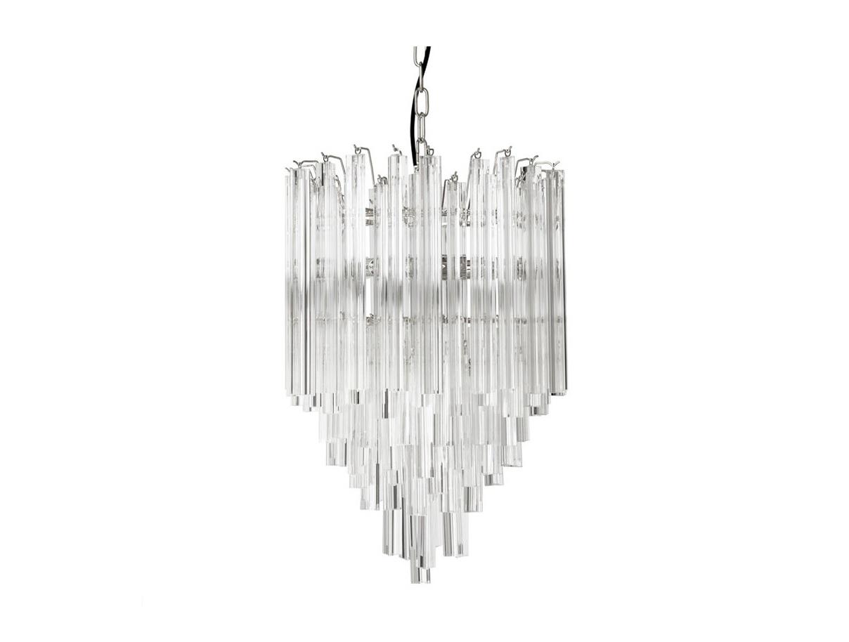 Подвесная люстра SalernoЛюстры подвесные<br>Подвесная люстра из коллекции Salerno на никелированной арматуре. Плафон выполнен из многоуровневых пластин из прозрачного стекла. Высота светильника регулируется за счет звеньев цепи.&amp;lt;div&amp;gt;&amp;lt;br&amp;gt;&amp;lt;/div&amp;gt;&amp;lt;div&amp;gt;&amp;lt;div&amp;gt;Вид цоколя: E14&amp;lt;/div&amp;gt;&amp;lt;div&amp;gt;Мощность лампы: 40W&amp;lt;/div&amp;gt;&amp;lt;div&amp;gt;Количество ламп: 4 (нет в комплекте)&amp;lt;/div&amp;gt;&amp;lt;/div&amp;gt;<br><br>Material: Стекло<br>Height см: 61,5<br>Diameter см: 42