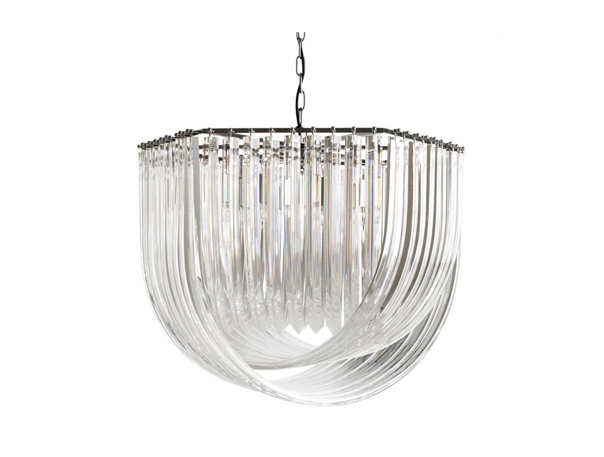 Подвесная люстра HyeresЛюстры подвесные<br>Подвесной светильник Hyeres на никелированной арматуре. Оригинальный плафон выполнен из прозрачного муранского стекла. Высота светильника регулируется за счет звеньев цепи.&amp;lt;div&amp;gt;&amp;lt;br&amp;gt;&amp;lt;/div&amp;gt;&amp;lt;div&amp;gt;&amp;lt;div&amp;gt;Вид цоколя: E27&amp;lt;/div&amp;gt;&amp;lt;div&amp;gt;Мощность лампы: 40W&amp;lt;/div&amp;gt;&amp;lt;div&amp;gt;Количество ламп: 6&amp;lt;/div&amp;gt;&amp;lt;/div&amp;gt;<br><br>Material: Стекло<br>Ширина см: 65<br>Высота см: 55<br>Глубина см: 75