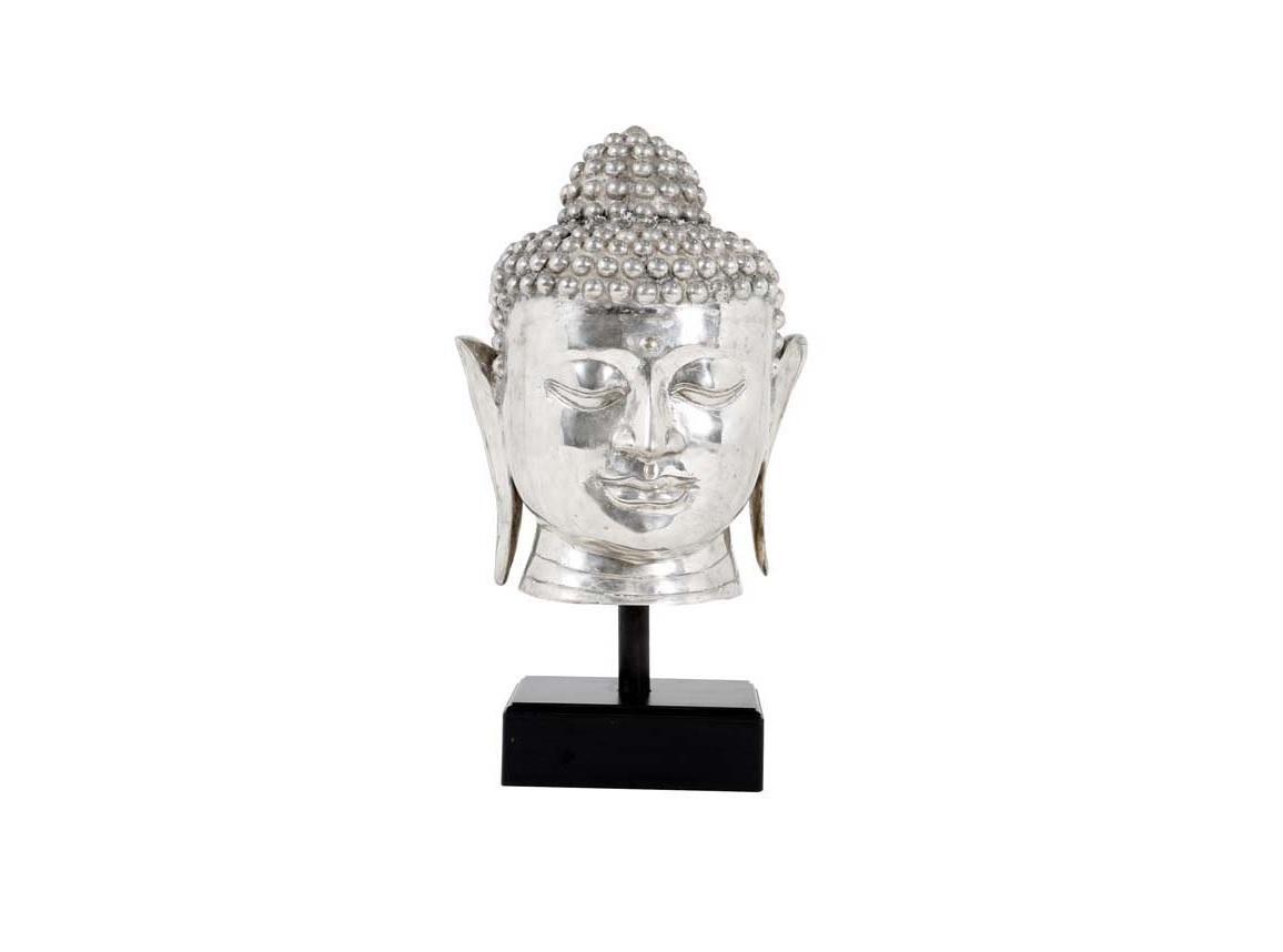 Статуэтка BudhaСтатуэтки<br>Нидерландская статуэтка&amp;amp;nbsp;&amp;amp;nbsp;Budha в виде головы Будды, в серебристом цвете на черной подставке. Аксессуар выполнен из алюминия. Стильный предмет интерьера привнесет гармонию в доме.<br><br>Material: Алюминий<br>Height см: 55