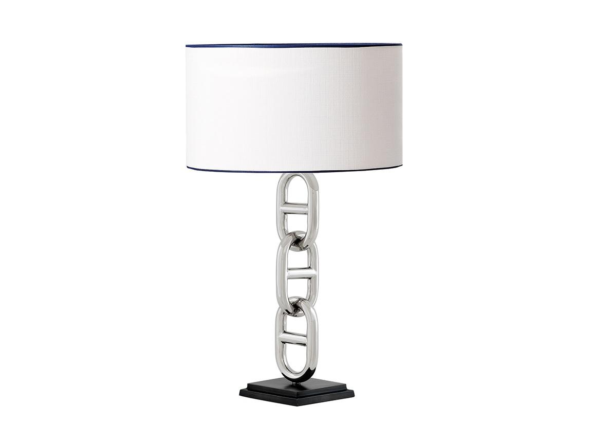 Настольная лампа St BarthДекоративные лампы<br>Настольная лампа St Barth с текстильным абажуром белого цвета с синим кантом. Цвет арматуры - стальной. Основание лампы выполнено в виде декоративной цепи. Подставка из темного дерева.&amp;lt;div&amp;gt;&amp;lt;br&amp;gt;&amp;lt;/div&amp;gt;&amp;lt;div&amp;gt;&amp;lt;div&amp;gt;Вид цоколя: E27&amp;lt;/div&amp;gt;&amp;lt;div&amp;gt;Мощность лампы: 40W&amp;lt;/div&amp;gt;&amp;lt;div&amp;gt;Количество ламп: 1&amp;lt;/div&amp;gt;&amp;lt;/div&amp;gt;<br><br>Material: Текстиль<br>Height см: 76<br>Diameter см: 45
