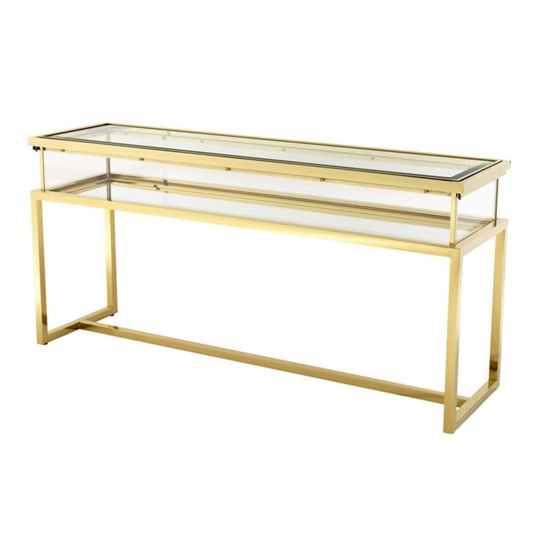 КонсольИнтерьерные консоли<br>Консоль Console Table Harvey на металлическом основании золотого цвета. Выдвижная столешница выполнена из плотного прозрачного стекла.<br><br>Material: Стекло<br>Width см: 160<br>Depth см: 45<br>Height см: 77