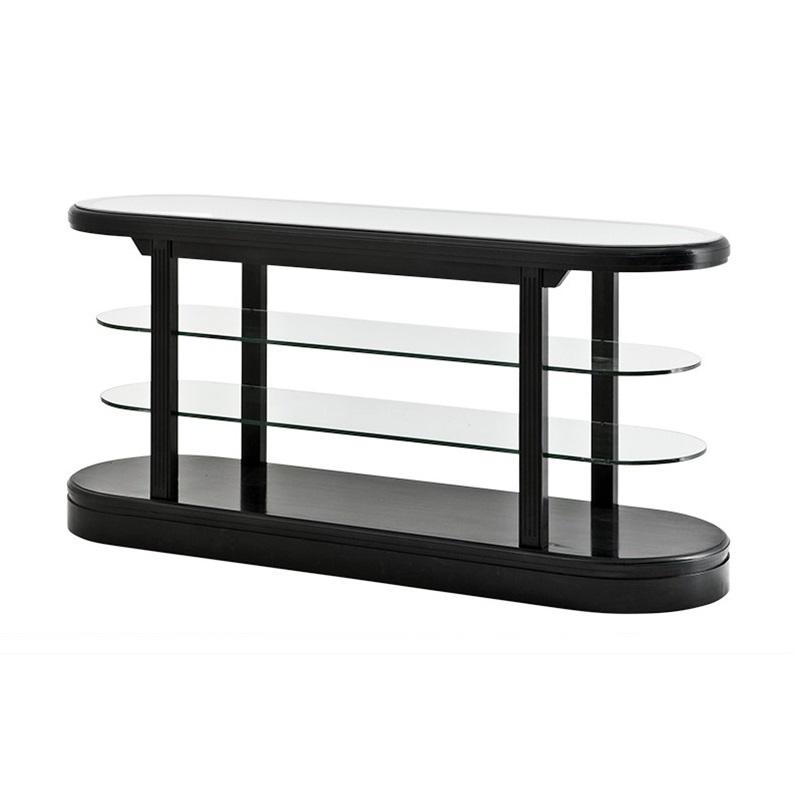 КонсольИнтерьерные консоли<br>Консоль Console Table Pierce черного цвета выполнена из дерева. Полки из прозрачного стекла.<br><br>Material: Дерево<br>Width см: 180<br>Depth см: 56,5<br>Height см: 87,5
