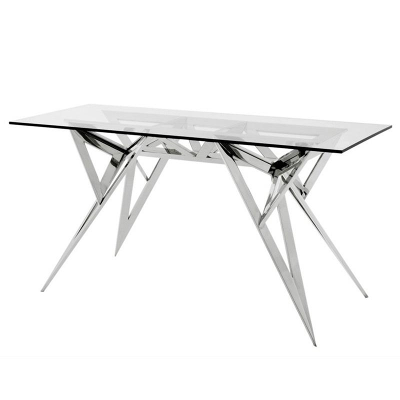 КонсольИнтерьерные консоли<br>Консоль Console Table Saratoga на основании из полированной нержавеющей стали. Столешница выполнена из плотного прозрачного стекла.<br><br>Material: Стекло<br>Ширина см: 150.0<br>Высота см: 77.0<br>Глубина см: 60.0