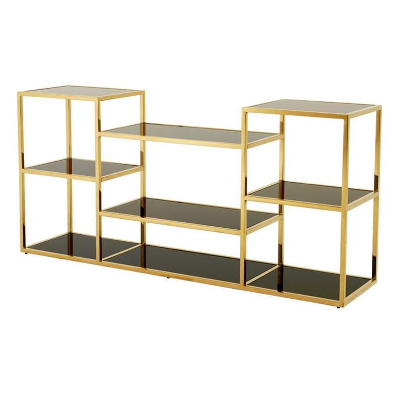 КонсольНеглубокие консоли<br>Консоль Console Table Smythson на металлическом основании золотого цвета. Полки выполнены из плотного стекла дымчатого цвета.<br><br>Material: Металл<br>Width см: 160<br>Depth см: 38<br>Height см: 75