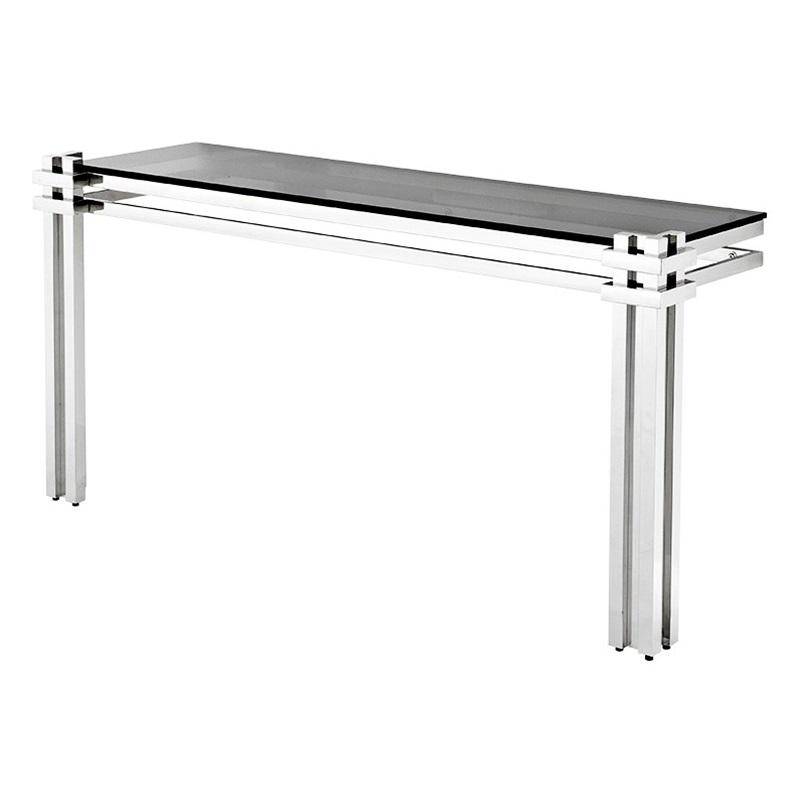 КонсольИнтерьерные консоли<br>Консоль Console Table Waterloo на основании из полированной нержавеющей стали. Столешница выполнена из плотного стекла дымчатого цвета.<br><br>Material: Стекло<br>Width см: 160<br>Depth см: 45<br>Height см: 76