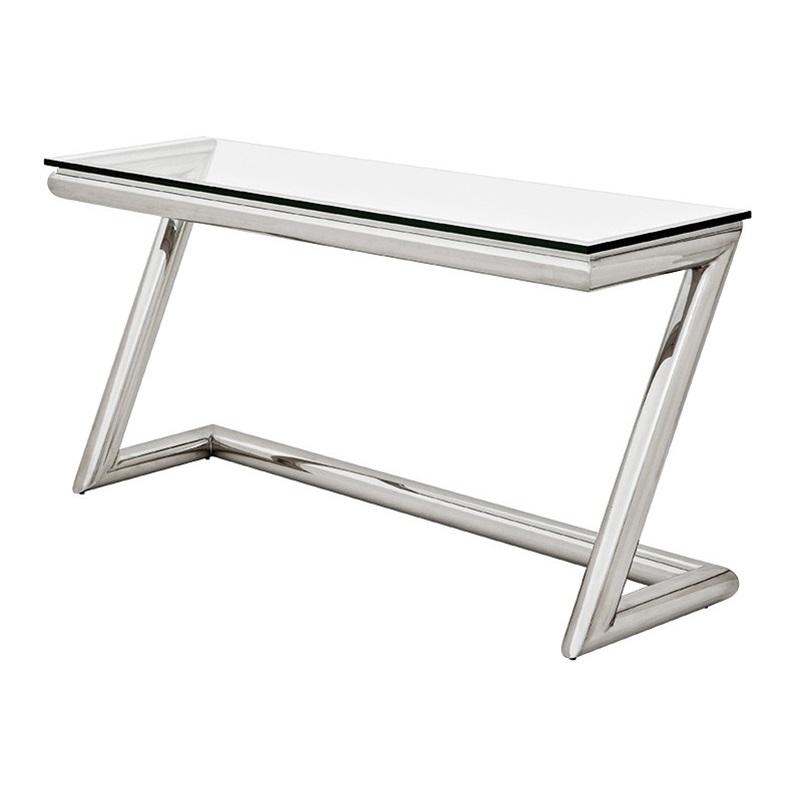 КонсольИнтерьерные консоли<br>Консоль Console Table Z на основании из нержавеющей стали. Столешница выполнена из плотного прозрачного стекла.<br><br>Material: Стекло<br>Width см: 160<br>Depth см: 45<br>Height см: 77