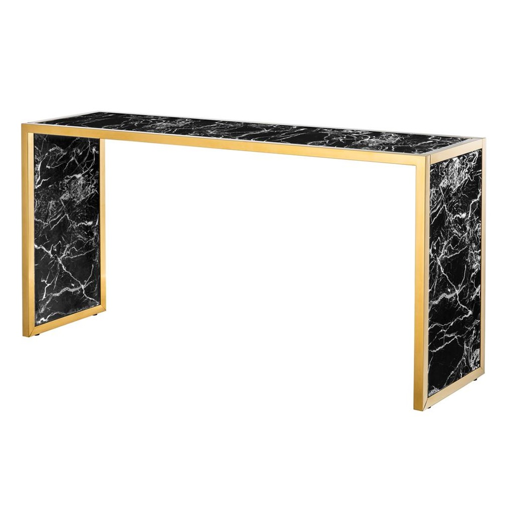 КонсольИнтерьерные консоли<br>Консоль Console Table Moscova с имитацией мрамора глянцевого черного цвета. Металлические углы золотого цвета.<br><br>Material: Мрамор<br>Width см: 150<br>Depth см: 40<br>Height см: 75