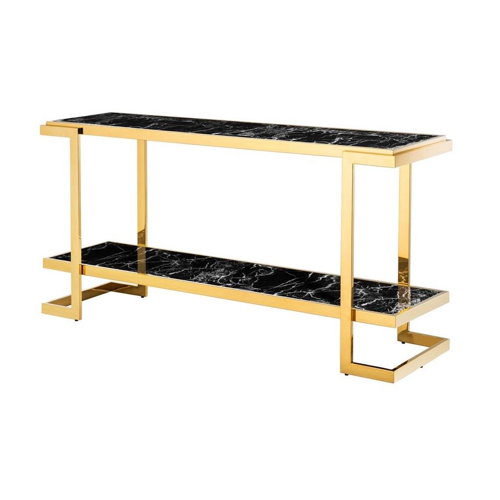КонсольИнтерьерные консоли<br>Консоль Console Table Senato с имитацией мрамора глянцевого черного цвета. Металлические углы золотого цвета.<br><br>Material: Мрамор<br>Width см: 150<br>Depth см: 40<br>Height см: 76