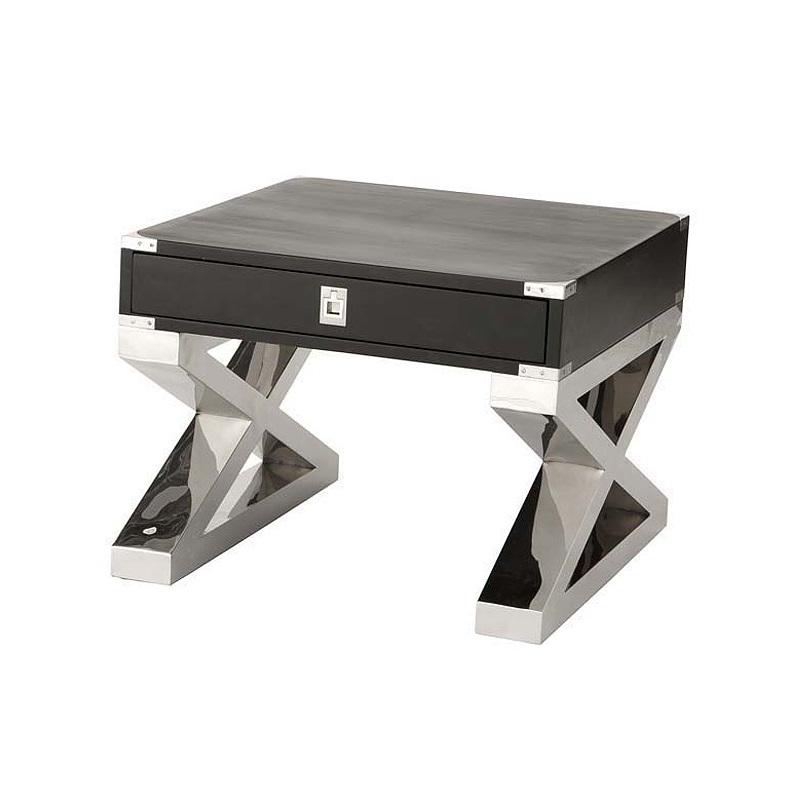 Журнальный столикЖурнальные столики<br>Деревянный столик Montana на оригинальных ножках из нержавеющей стали. Выдвижной ящик с металлическими ручками. Цвет: черный.<br><br>Material: Дерево<br>Width см: 65<br>Depth см: 65<br>Height см: 52