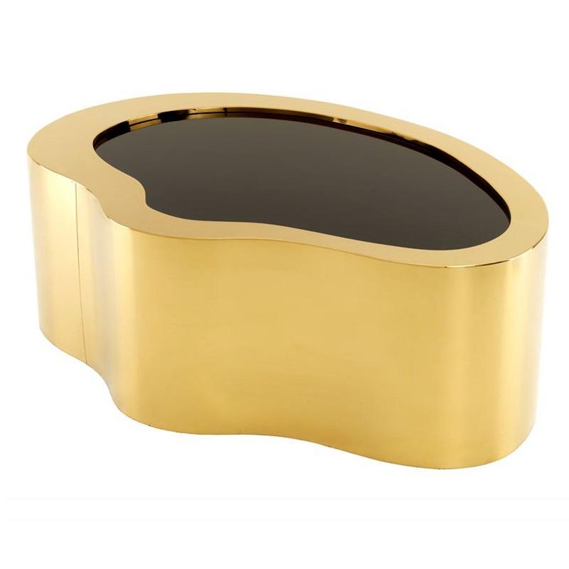 Журнальный столикЖурнальные столики<br>Кофейный столик оригинальной формы Gibbons выполнен из металла золотого цвета. Столешница из плотного стекла черного цвета.<br><br>Material: Металл<br>Width см: 110<br>Depth см: 76<br>Height см: 38