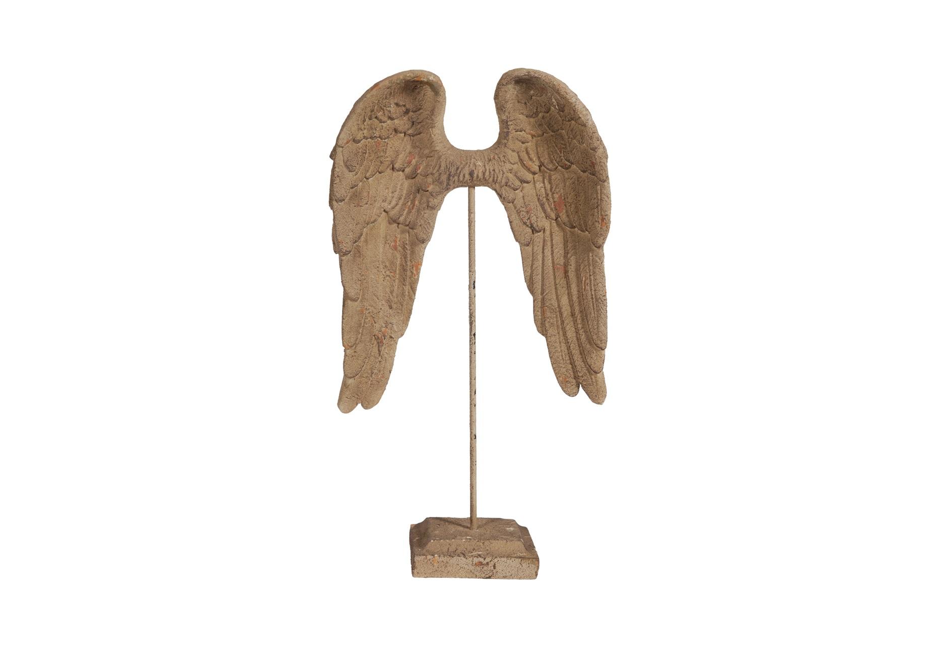 Элемент декора WingsДругое<br>Элемент декора Wings изготовлен из грубой керамики светло-коричневого цвета с искусственными потертостями. Подставка и сами крылья соединены железным штифтом и выполнены в том же стиле «прованс». Такой предмет декора украсит любое помещение, напоминающее уютный деревенский домик солнечного юга Франции.<br><br>Material: Керамика<br>Length см: None<br>Width см: 34,5<br>Depth см: 15<br>Height см: 60