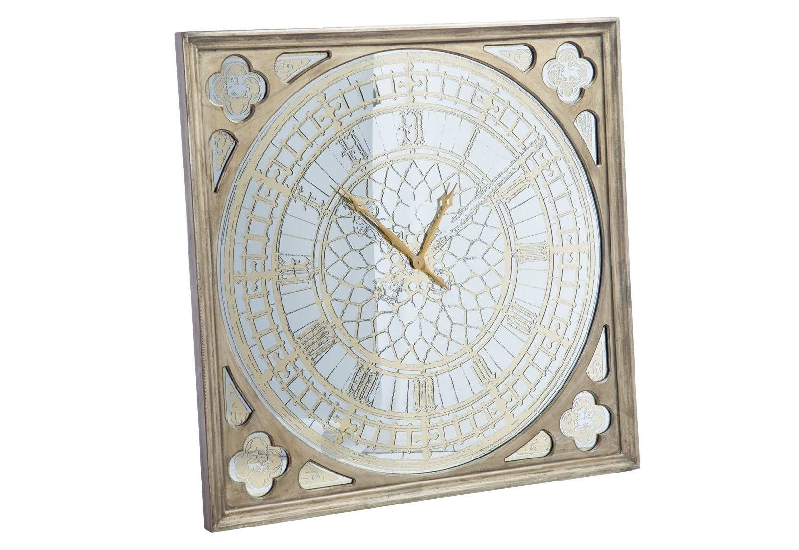 Часы настенные зеркальныеНастенные часы<br>Часы зеркальные настенные на батарейках в состаренной раме ,рисунок на зеркале.<br><br>Material: Стекло<br>Width см: 125<br>Depth см: 6<br>Height см: 125