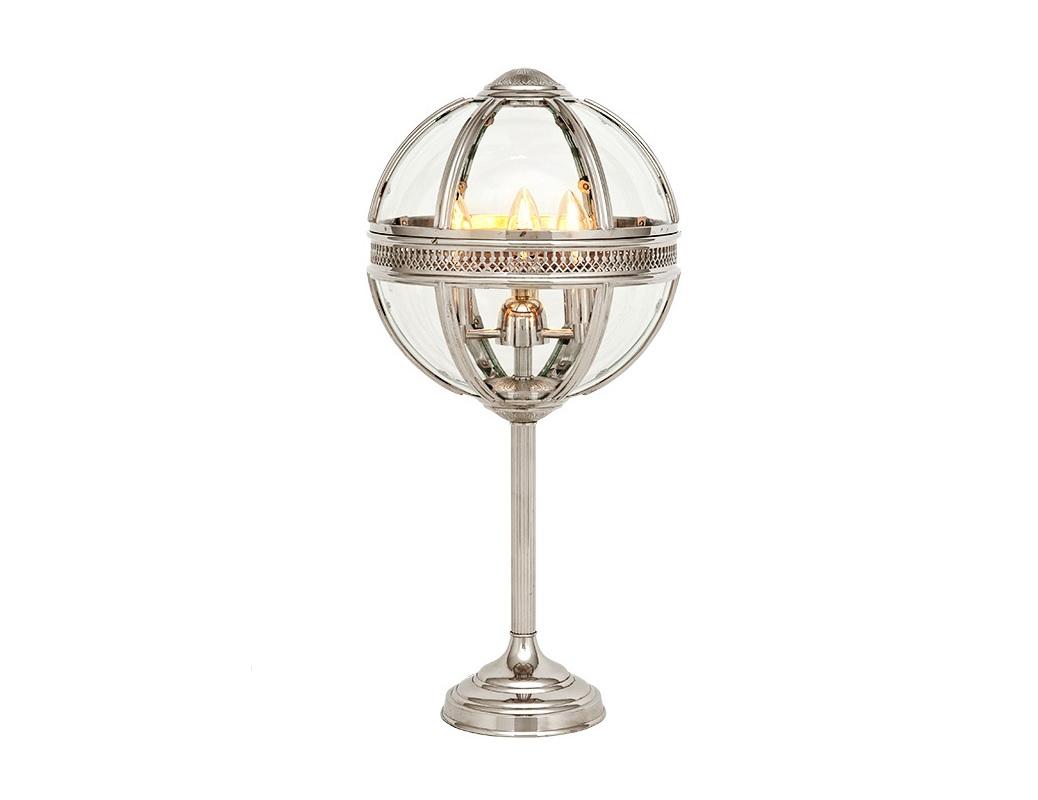 Настольная лампа ResidentialДекоративные лампы<br>Настольная лампа Residential с оригинальным дизайном плафона в виде стеклянного шара с откидной крышкой. Цвет арматуры - никель.&amp;lt;div&amp;gt;&amp;lt;br&amp;gt;&amp;lt;/div&amp;gt;&amp;lt;div&amp;gt;&amp;lt;div&amp;gt;Вид цоколя: E14&amp;lt;/div&amp;gt;&amp;lt;div&amp;gt;Мощность лампы: 40W&amp;lt;/div&amp;gt;&amp;lt;div&amp;gt;Количество ламп: 3&amp;lt;/div&amp;gt;&amp;lt;/div&amp;gt;<br><br>Material: Металл<br>Height см: 61<br>Diameter см: 30
