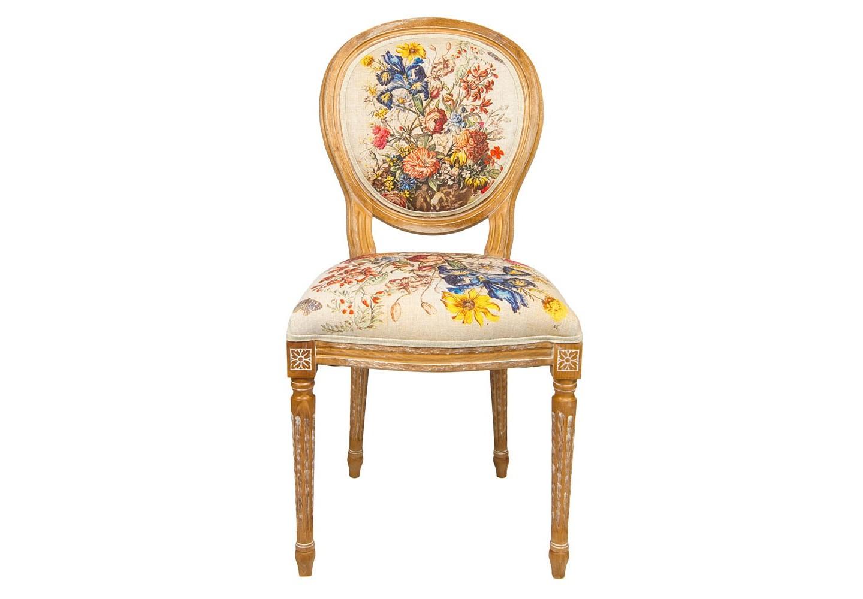 Стул «12 месяцев цветения» версия ИюньОбеденные стулья<br>Дворцовый силуэт стула «12 месяцев цветения», версия Июнь,  французской эпохи Луи-Филиппа органично сочетается с фламандским натюрмортом XVIII века. Июнь - месяц розы. Из 33 цветущих растений месяца роза представлена семью сортами,  ирисами и лилиями, геранью, жасминами. Каркас стула изготовлен из натурального бука. Благородная фактура  дерева подчеркнута рукописной патиной. Цветочные гравюры полностью опоясывают обивку, включая оборотную сторону спинки. Ткань  оснащена тефлоновым покрытием против пятен.&amp;lt;div&amp;gt;&amp;lt;br&amp;gt;&amp;lt;/div&amp;gt;&amp;lt;div&amp;gt;Материал: каркас - бук, обивка - 20% лен, 80% полиэстер&amp;lt;br&amp;gt;&amp;lt;/div&amp;gt;<br><br>Material: Бук<br>Width см: 62<br>Depth см: 50<br>Height см: 101