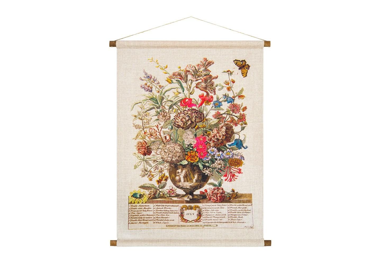 Панно «Соцветие Июля»Панно<br>В основе дизайна панно «Соцветие Июля» - фламандская гравюра начала XVIII века. Букет июля собран из 32 цветущих растений, в том числе венгерской розы, лилии мартагон, настурции,  эстрагона, каперса, люпина, валерианы, жасмина, олеандра, граната. Плотная ткань напоминает гобелен, сходство с которым акцентировано  цветочным натюрмортом. Панно  изготовлено  из смеси  льна и хлопка, обрамленной деревянными рейками. Ткань оснащена водоотталкивающей пропиткой, способствующей долговечности изделия.<br><br>&amp;lt;div&amp;gt;&amp;lt;br&amp;gt;&amp;lt;/div&amp;gt;&amp;lt;div&amp;gt;Материал: ткань - лен / хлопок; рейки - дерево; подвеска - джутовая веревка&amp;lt;br&amp;gt;&amp;lt;/div&amp;gt;<br><br>Material: Лен<br>Ширина см: 53<br>Высота см: 70