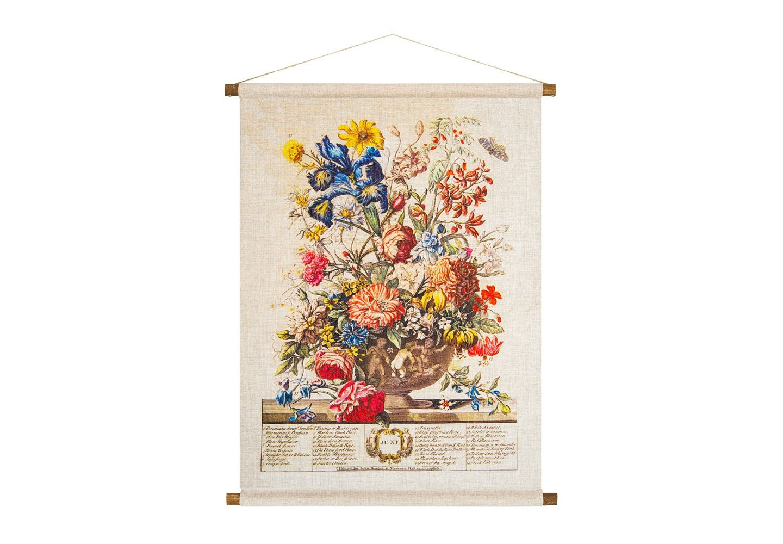 Панно «Соцветие Июня»Панно<br>Старинная гравюра нанесена на плотную  фактуру панно «Соцветие Июня». Июнь - месяц розы. Из 33 цветущих растений месяца роза представлена семью сортами. Среди прочих цветов -  ирисы и лилии мартегон, герань, белый и желтый жасмин.  Плотная ткань напоминает гобелен, сходство с которым акцентировано  цветочным натюрмортом. Панно  изготовлено  из смеси  льна и хлопка, обрамленной деревянными рейками. Ткань оснащена водоотталкивающей пропиткой, способствующей долговечности изделия.&amp;lt;div&amp;gt;&amp;lt;br&amp;gt;&amp;lt;/div&amp;gt;&amp;lt;div&amp;gt;Материал: ткань - лен / хлопок; рейки - дерево; подвеска - джутовая веревка&amp;lt;br&amp;gt;&amp;lt;/div&amp;gt;<br><br>Material: Лен<br>Width см: 53<br>Height см: 70