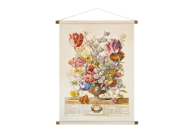 Панно «Соцветие Апреля»Панно<br>Подобно легкому бризу, панно «Соцветие Апреля» наполнит  наше пространство атмосферной легкостью и эмоциональным теплом. Апрельский букет составили цветы 30 растений, включая   примулу,  тюльпаны и анемоны, нарцисс, гиацинт, луговую лилию,  миндаль, фикус, персик.  Плотная ткань напоминает гобелен, сходство с которым акцентировано  цветочным натюрмортом. Панно  изготовлено  из смеси  льна и хлопка, обрамленной деревянными рейками. Ткань оснащена водоотталкивающей пропиткой, способствующей долговечности изделия.&amp;lt;div&amp;gt;&amp;lt;br&amp;gt;&amp;lt;/div&amp;gt;&amp;lt;div&amp;gt;Материал: ткань - лен / хлопок; рейки - дерево; подвеска - джутовая веревка&amp;lt;br&amp;gt;&amp;lt;/div&amp;gt;<br><br>Material: Лен<br>Width см: 53<br>Height см: 70