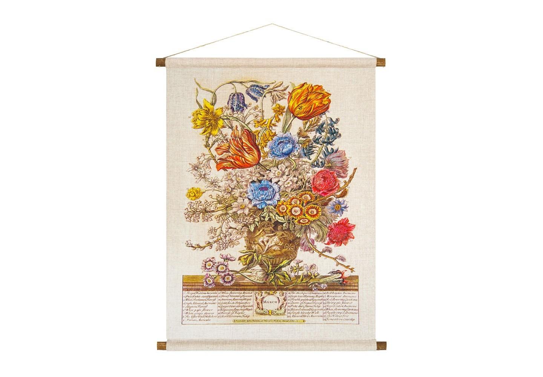 Панно «Соцветие Марта»Панно<br>Ручная работа, натуральные ткань и дерево панно «Соцветие Марта» одухотворяют предметы интерьера, вдыхают атмосферу тепла.  Букет марта объединил 34 цветущих растения, включая  примулу, гиацинты, тюльпаны и нарциссы, бархатный ирис, белый миндаль.  Плотная ткань напоминает гобелен, сходство с которым акцентировано  цветочным натюрмортом. Панно  изготовлено  из смеси  льна и хлопка, обрамленной деревянными рейками. Ткань оснащена водоотталкивающей пропиткой, способствующей долговечности изделия.&amp;lt;div&amp;gt;&amp;lt;br&amp;gt;&amp;lt;/div&amp;gt;&amp;lt;div&amp;gt;Материал: ткань - лен / хлопок; рейки - дерево; подвеска - джутовая веревка&amp;lt;br&amp;gt;&amp;lt;/div&amp;gt;<br><br>Material: Лен<br>Width см: 53<br>Height см: 70