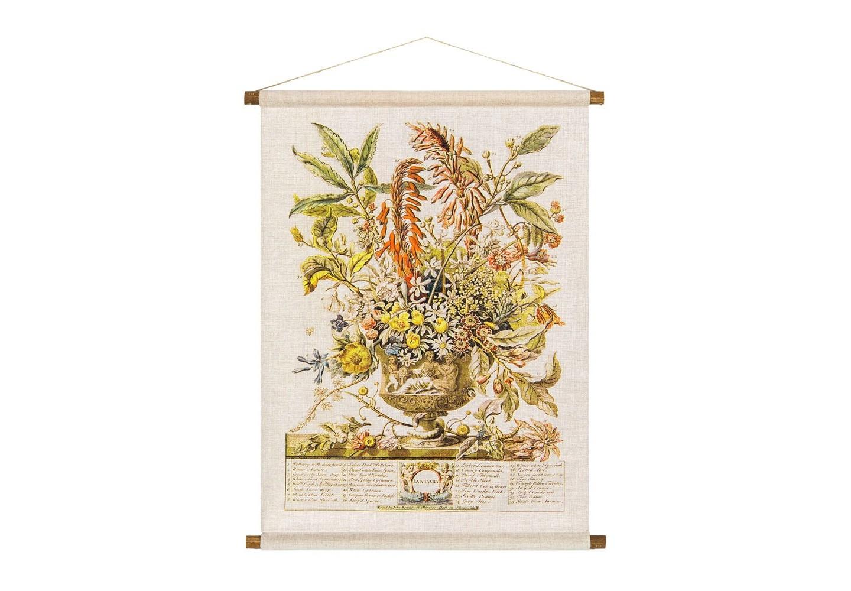 Панно «Соцветие Января»Панно<br>Плотная  ткань панно «Соцветие Января»  весьма напоминает гобелен, сходство с которым акцентировано цветочным фламандским натюрмортом. Январский букет составил 33 цветка, в том числе по 2 сорта цикламена и алоэ, подснежник, чабрец, кампанула, бархатная фиалка, анемона, жасмин, комнатный лимон. Панно изготовлено  из смеси натуральных льна и хлопка, обрамленной деревянными рейками. Ткань оснащена водоотталкивающей пропиткой, способствующей долговечности изделия.&amp;lt;div&amp;gt;&amp;lt;br&amp;gt;&amp;lt;/div&amp;gt;&amp;lt;div&amp;gt;Материал: ткань - лен / хлопок; рейки - дерево; подвеска - джутовая веревка&amp;lt;br&amp;gt;&amp;lt;/div&amp;gt;<br><br>Material: Лен<br>Width см: 53<br>Height см: 70