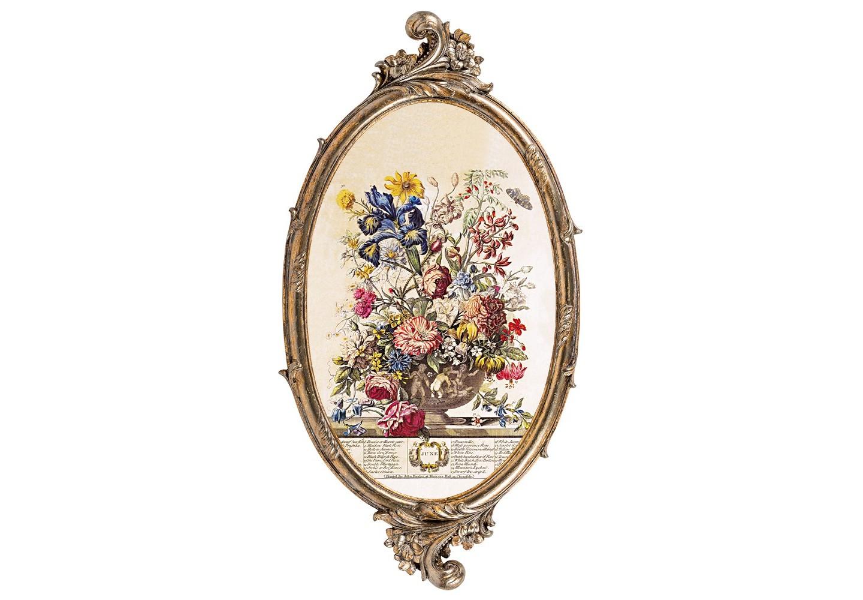 Репродукция «12 месяцев цветения» (Июнь)Картины<br>Яркий фламандский натюрморт репродукции «12 месяцев цветения» (Июнь)  особо выразителен на величественном фоне французского классицизма. Цветочный рельеф рамы органично дорисовывает пышный букет гравюры. Изображение напечатано на холсте, покрыто защитным матовым лаком. Классический бронзовый цвет рамы из полистоуна  - залог соседства с большинством предметов мебели и декора. Удобное крепление рамы позволит без труда разместить её на стене. &amp;lt;div&amp;gt;&amp;lt;br&amp;gt;&amp;lt;/div&amp;gt;&amp;lt;div&amp;gt;Материал: рама - полистоун; изображение – холст, матовый лак&amp;lt;br&amp;gt;&amp;lt;/div&amp;gt;<br><br>Material: Полистоун<br>Width см: 28.5<br>Depth см: 1.5<br>Height см: 54.5