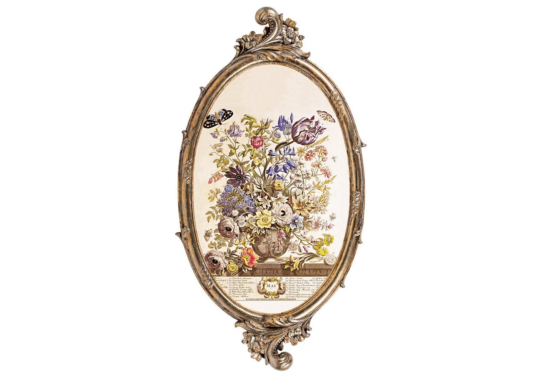 Репродукция «12 месяцев цветения» (Май)Картины<br>Репродукция фламандского натюрморта «12  месяцев цветения» (Май) -  интерьерное украшение гостиной, столовой, спальни,  холла, готовое задать пространству стиль и достоинство. Филигранный венец рамы архитектурно выразителен на фоне строгой овальной оправы. Изображение напечатано на холсте, покрыто защитным матовым лаком. Классический бронзовый цвет рамы из полистоуна  - залог соседства с большинством предметов мебели и декора. Удобное крепление рамы позволит без труда разместить её на стене. <br><br>&amp;lt;div&amp;gt;&amp;lt;br&amp;gt;&amp;lt;/div&amp;gt;&amp;lt;div&amp;gt;Материал: рама - полистоун; изображение – холст, матовый лак&amp;lt;br&amp;gt;&amp;lt;/div&amp;gt;<br><br>Material: Полистоун<br>Width см: 28.5<br>Depth см: 1.5<br>Height см: 54.5