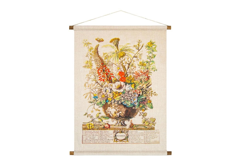Панно «Соцветие Декабря»Панно<br>Фламандская  гравюра нанесена  на плотную  фактуру панно «Соцветие Декабря». Букет декабря насчитывает 36 цветущих растений, среди которых бенгальская роза, герань, цикламен, примула, розмарин, алоэ, валериана, лютик, златоцвет. Плотная ткань напоминает  гобелен, сходство с которым акцентировано  цветочным натюрмортом. Панно  изготовлено  из смеси  льна и хлопка, обрамленной деревянными рейками. Ткань оснащена водоотталкивающей пропиткой, способствующей долговечности изделия.&amp;lt;div&amp;gt;&amp;lt;br&amp;gt;&amp;lt;/div&amp;gt;&amp;lt;div&amp;gt;Материал: ткань - лен / хлопок; рейки - дерево; подвеска - джутовая веревка&amp;lt;br&amp;gt;&amp;lt;/div&amp;gt;<br><br>Material: Лен<br>Ширина см: 53<br>Высота см: 70