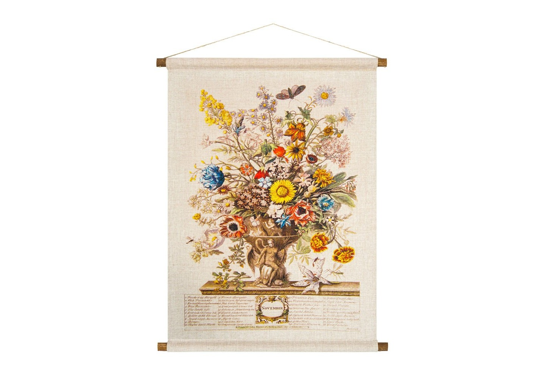 Панно «Соцветие Ноября»Панно<br>Панно «Соцветие Ноября» искусно преображает пространство винтажным обаянием, уютом и теплом. В букет из 38 цветков ноября вошли жасмин, герань, астра, настурция, каперс, златоцвет, валериана. Плотная ткань напоминает фламандский гобелен, сходство с которым акцентировано  цветочным натюрмортом. Панно  изготовлено  из смеси  льна и хлопка, обрамленной деревянными рейками. Ткань оснащена водоотталкивающей пропиткой, способствующей долговечности изделия.&amp;lt;div&amp;gt;&amp;lt;br&amp;gt;&amp;lt;/div&amp;gt;&amp;lt;div&amp;gt;Материал: ткань - лен / хлопок; рейки - дерево; подвеска - джутовая веревка&amp;lt;br&amp;gt;&amp;lt;div&amp;gt;&amp;lt;br&amp;gt;&amp;lt;/div&amp;gt;&amp;lt;div&amp;gt;&amp;lt;br&amp;gt;&amp;lt;/div&amp;gt;&amp;lt;/div&amp;gt;<br><br>Material: Лен<br>Width см: 53<br>Height см: 70