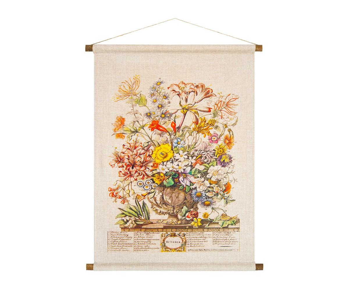 Панно «Соцветие Октября»Панно<br>Ручная работа, натуральные ткань и дерево панно «Соцветие Октября» » одухотворяют предметы интерьера, вдыхают атмосферу тепла. Букет октября составил 31 цветущее растение, среди которых настурция, герань, белладонна, табак, златоцвет, тубероза, шафран. Плотная ткань напоминает гобелен, сходство с которым акцентировано  цветочным натюрмортом. Панно  изготовлено  из смеси  льна и хлопка, обрамленной деревянными рейками. Ткань оснащена водоотталкивающей пропиткой, способствующей долговечности изделия.<br><br><br>&amp;lt;div&amp;gt;&amp;lt;br&amp;gt;&amp;lt;/div&amp;gt;&amp;lt;div&amp;gt;Материал: ткань - лен / хлопок; рейки - дерево; подвеска - джутовая веревка&amp;lt;br&amp;gt;&amp;lt;/div&amp;gt;<br><br>Material: Лен<br>Width см: 53<br>Height см: 70