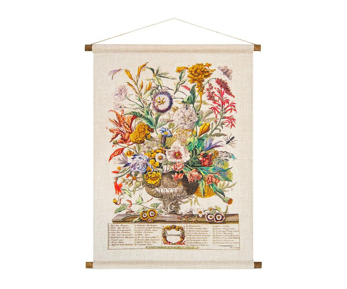 Панно «Соцветие Сентября»Панно<br>Панно «Соцветие Сентября» сконструировано в старинной  манере свитка. 35 цветущих растений составили букет сентября. В их числе  хризантемы, роза, примула, каперс, герань, страстоцвет, календула, амарант. Плотная ткань напоминает фламандский гобелен, сходство с которым акцентировано  цветочным натюрмортом. Панно  изготовлено  из смеси  льна и хлопка, обрамленной деревянными рейками. Ткань оснащена водоотталкивающей пропиткой, способствующей долговечности изделия.&amp;lt;div&amp;gt;&amp;lt;br&amp;gt;&amp;lt;/div&amp;gt;&amp;lt;div&amp;gt;&amp;lt;div&amp;gt;Материал: ткань - лен / хлопок; рейки - дерево; подвеска - джутовая веревка&amp;lt;/div&amp;gt;&amp;lt;/div&amp;gt;&amp;lt;div&amp;gt;&amp;lt;br&amp;gt;&amp;lt;/div&amp;gt;<br><br>Material: Лен<br>Width см: 53<br>Height см: 70