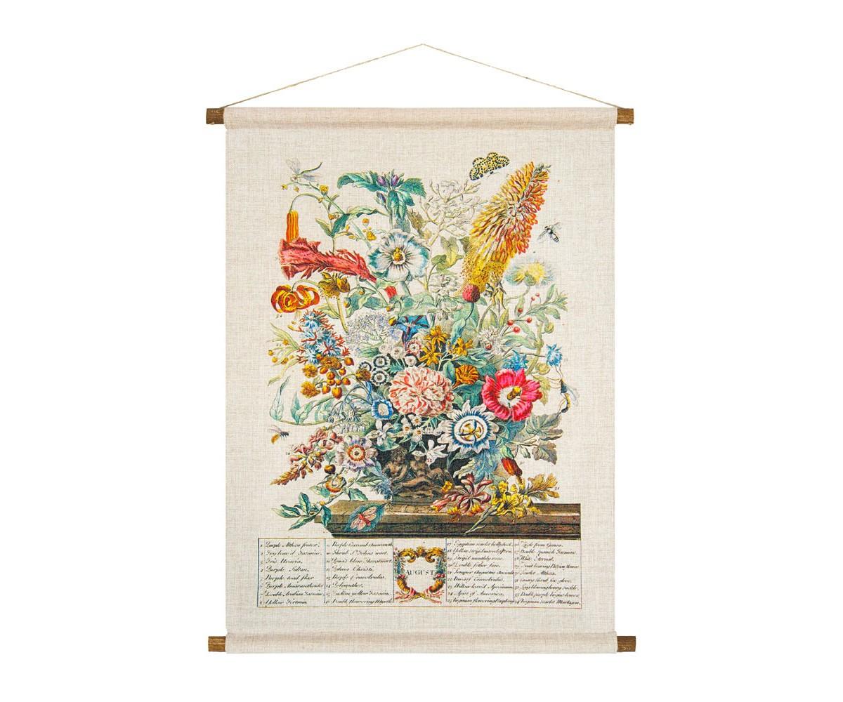 Панно «Соцветие Августа»Панно<br>Панно «Соцветие Августа» с фламандским натюрмортом - находка для ценителей стилей &amp;quot;бохо&amp;quot;,  &amp;quot;кантри&amp;quot;, &amp;quot;шале&amp;quot; и &amp;quot;прованса&amp;quot;. Букет августа состоит из 34 цветущих растений. В их числе бенгальская роза, лилия мартагон, жасмины, бальзамин, амарант, колумбин. Плотная ткань напоминает гобелен, сходство с которым акцентировано  цветочным натюрмортом. Панно  изготовлено  из смеси  льна и хлопка, обрамленной деревянными рейками. Ткань оснащена водоотталкивающей пропиткой, способствующей долговечности изделия.&amp;lt;div&amp;gt;&amp;lt;br&amp;gt;&amp;lt;/div&amp;gt;&amp;lt;div&amp;gt;&amp;lt;div&amp;gt;Материал: ткань - лен / хлопок; рейки - дерево; подвеска - джутовая веревка&amp;lt;/div&amp;gt;&amp;lt;/div&amp;gt;&amp;lt;div&amp;gt;&amp;lt;br&amp;gt;&amp;lt;/div&amp;gt;<br><br>Material: Лен<br>Width см: 53<br>Height см: 70