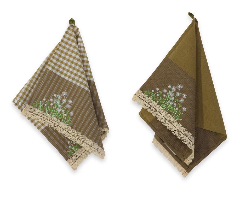 Набор полотенец Франск хавКомплекты полотенец<br>Набор кухонных полотенец «Франск Хав» бежево-лиловый. <br>         Кухонные полотенца «Франск Хав» имеют нежный дизайн. Текстиль, из которого они изготовлены на 55% состоит из натурального льна и на 45% из хлопка. Одно из полотенец  имеет оттенок лилового тумана, а второе нежно бежевого цвета. Полотенца дополнены разноцветной вышивкой, изображающей цветы и листья клевера. К полотенцу пришита маленькая петелька для подвешивания. Эта кухонная принадлежность – настоящая находка для хозяйки, любящей готовить и украшать свой дом.&amp;amp;nbsp;&amp;lt;div&amp;gt;&amp;lt;span style=&amp;quot;font-size: 14px;&amp;quot;&amp;gt;&amp;lt;br&amp;gt;&amp;lt;/span&amp;gt;&amp;lt;/div&amp;gt;&amp;lt;div&amp;gt;&amp;lt;span style=&amp;quot;font-size: 14px;&amp;quot;&amp;gt;В набор входят два полотенца размером 50х100.&amp;lt;/span&amp;gt;&amp;lt;br&amp;gt;&amp;lt;/div&amp;gt;<br><br>Material: Хлопок<br>Ширина см: 16<br>Высота см: 8<br>Глубина см: 25