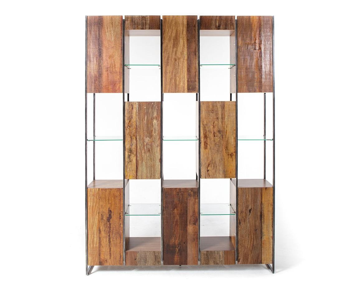 Стеллаж книжный Marley 160Книжные шкафы и библиотеки<br>Классические формы Книжного Стеллажа Marley от Thomas Bina - это сочетание антикварной древесины, стекла и металла. Наличие закрытых шкафчиков и открытых дополнительных пространств - это легкость использования и свет вашего интерьера.<br><br>Material: Тик<br>Length см: None<br>Width см: 160<br>Depth см: 33<br>Height см: 218<br>Diameter см: None