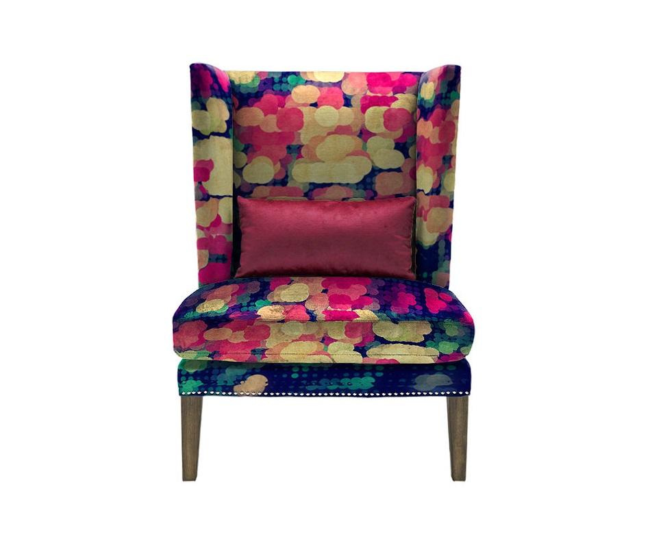Кресло SpotКресла с высокой спинкой<br>Уникальный дизайн. Кресло с притом одного из талантивейших художников- иллюстраторов Джеймса Соареса. Отличительная черта американского художника это абстрактный графический дизайн с сочетанием множества оттенков. Комбинируя формы, глубиину и текстуры, геометрические узоры, Джеймс противопоставляет структурированное и хаотичному, искусственное и натуральному, а также механическое органическому.<br>Произвдено из экологически чистых материалов. Используется только итальянская фурнитура! Каркас и ножки  - дуб. Модель представлена в ткани микровелюр – мягкий, бархатистый материал, широко используемый в качестве обивки для мебели. Обладает целым рядом замечательных свойств: отлично пропускает воздух, отталкивает пыль и долго сохраняет изначальный цвет, не протираясь и не выцветая. Высокие эксплуатационные свойства в сочетании с превосходным дизайном обеспечили микровелюру большую популярность.<br><br>Варианты исполнения: <br>По желанию возможность выбрать ткань из других коллекций. Материалы: дуб, текстиль.<br><br>Продукция изготавливается под заказ, стандартный срок производства 3-4 недели.&amp;amp;nbsp;<br><br>Material: Текстиль<br>Length см: None<br>Width см: 78<br>Depth см: 81<br>Height см: 105