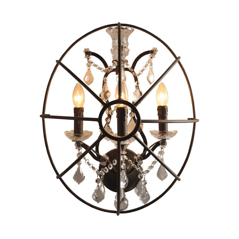 БраБра<br>Шикарный настенный светильник из металла с нитями подвесок и патронами в форме свечей. Оформите свою спальню или гостиную в готическом стиле, создав загадочную атмосферу средневекового замка.<br><br>Material: Бронза<br>Ширина см: 40<br>Высота см: 58<br>Глубина см: 30