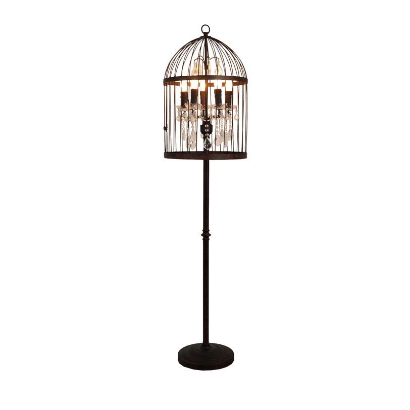 Напольный светильникТоршеры<br>Этот напольный светильник на черной металлической штанге с абажуром в виде клетки для птицы выглядит экстравагантно и стильно. Внутри клетки абажур оснащен 5 рожками для ламп-свечей и декорирован мерцающими подвесками. Этот торшер в винтажном стиле отлично впишется в современный эклектичный интерьер.<br><br>Material: Металл<br>Height см: 163<br>Diameter см: 39