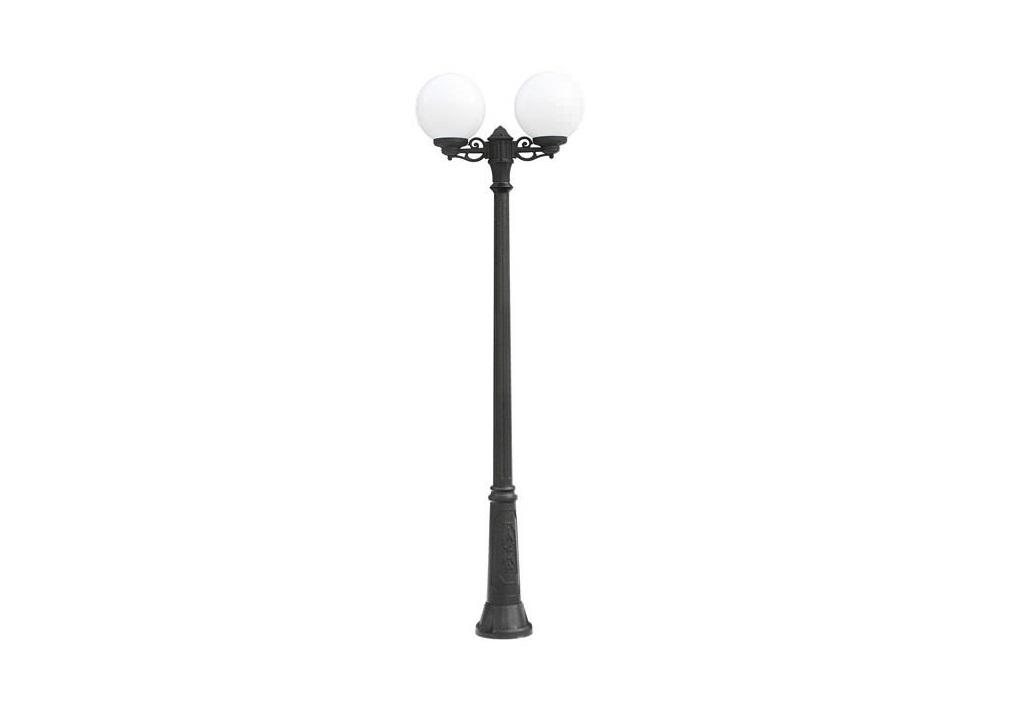 Светильник уличный RICU BISSOУличные наземные светильники<br>Средние шаровые уличные светильники FUMAGALLI  серии GLOBE 300  - изготовлены в Италии. Корпус изготовлен из современного композитного полимера RESIN. Прочного, окрашенного в массе, не ржавеющего и не выгорающего на солнце. Все светильники пыле-влаго защищены по стандарту IP55. В комплекте идут крепежи и закладные элементы. Рассеиватель выполнен из антивандального, не мутнеющего  и не горючего PMMA. Срок службы светильника - не менее 10 лет. Температура использования от +60 до -90. Могут быть в настенном, подвесном и наземном исполнении со столбами разной высоты, разным количеством и конфигурации голов. Столбы выше 150 см имеют в основе мощную стальную трубу с двойной оцинковкой и полимерным наполнителем. При заказе требуется выбрать цвет корпуса, цвет плафона и тип патрона.<br>Вид цоколя: E27<br>Мощность: 100W<br>Количество ламп: 2 (нет в комплекте)<br>Материал: полимер<br>