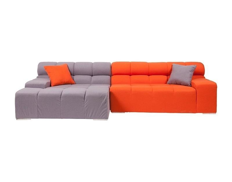 Диван Tufty-TimeУгловые диваны<br>Диван Tufty-Time Sofa выполнен на деревянном каркасе, с ножками из нержавеющей стали, состоит из двух разных половинок, отличающихся по цвету (серый и оранжевый) и по ширине, с плоскими подлокотниками, наполнитель — мебельный поролон, с двумя декоративными подушками под спину. Диван Tufty-Time Sofa словно бросает вызов всему симметричному и пропорциональному. Два элемента можно использовать совместно, также есть возможность «разделить» секции и расставить их по своему вкусу. Обивка угловой части отделана серой кашемировой тканью. Широкий блок представлен в фиолетовом варианте. Диван обладает и непревзойденным удобством, долговечностью и надежностью, изготовлен из абсолютно безопасных натуральных материалов. Дизайн дивана от Патрисии Уркиола (Patricia Urquiola)! Удобный аксессуар для современного стиля гостиной.<br><br>Material: Текстиль<br>Length см: None<br>Width см: 286<br>Depth см: 145<br>Height см: 77