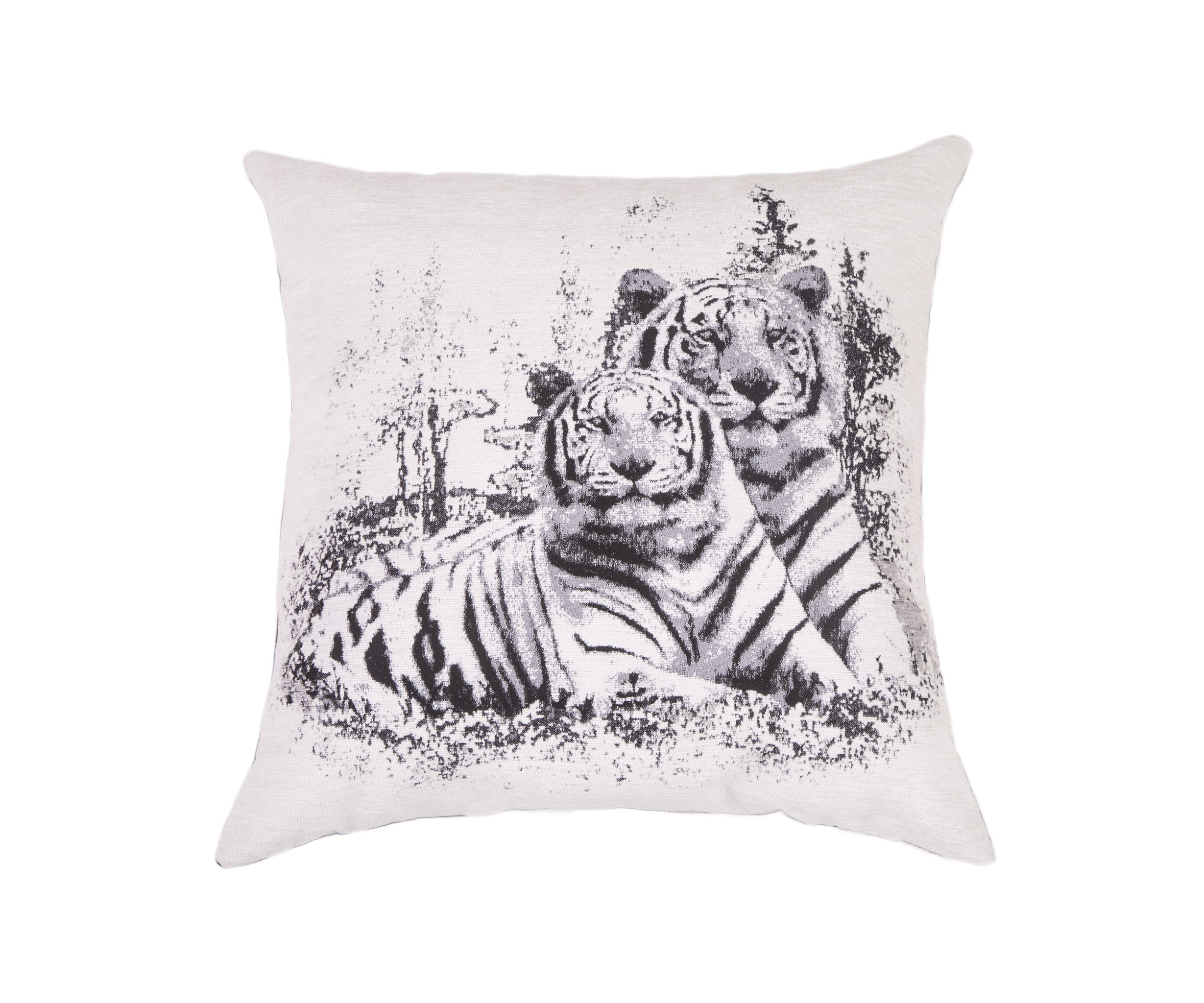 Подушка ТигрКвадратные подушки и наволочки<br>Двусторонняя декоративная подушка &amp;quot;Тигр&amp;quot; станет ярким акцентом в вашем интерьере. На одной стороне образ грозного льва, на другой стороне - мягкий, обволакивающий велюр увлекут ваши фантазии в жаркие тропические страны.  Высококачественный материал приятен для кожи и безопасен даже для самой чувствительной кожи.  Оригинальный дизайнерский принт сделает пространство стильным и своеобразным.<br><br>Material: Текстиль<br>Length см: None<br>Width см: 55<br>Depth см: 10<br>Height см: 55