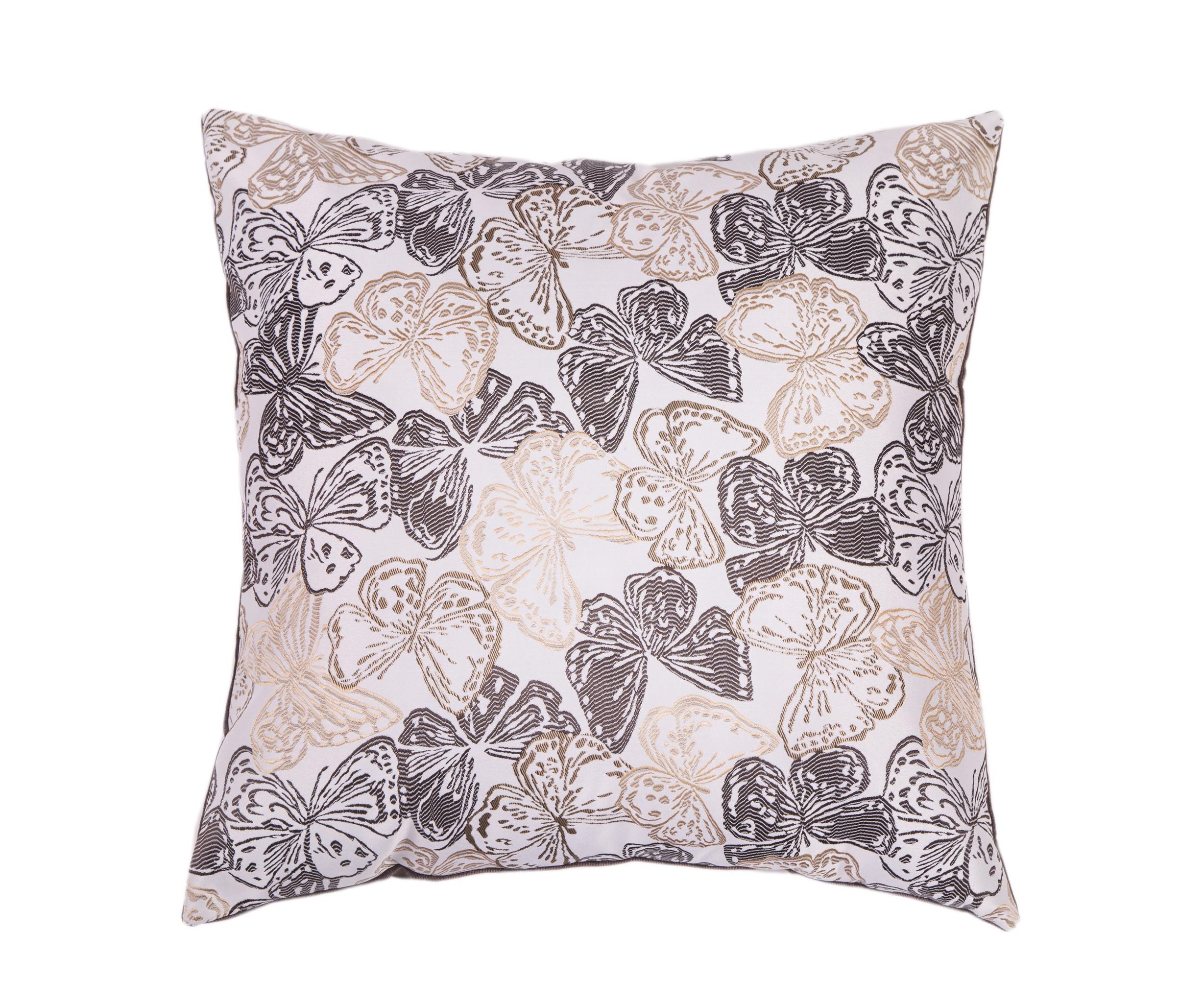 Подушка Шоколадные бабочкиКвадратные подушки и наволочки<br>Двусторонняя декоративная подушка &amp;quot;Шоколадные бабочки&amp;quot; станет ярким акцентом в вашем интерьере. На одной стороне принт с красочными бабочками солнечных тонов, на другой стороне - нежный велюр сделают пространство комнаты веселым и радостным.  Высококачественный материал приятен для кожи и безопасен даже для самой чувствительной кожи.  Оригинальный дизайнерский принт сделает пространство стильным и своеобразным.  Красивый рисунок на ткани станет ярким акцентом в вашем декоре.<br><br>Material: Текстиль<br>Length см: None<br>Width см: 55<br>Depth см: 10<br>Height см: 55