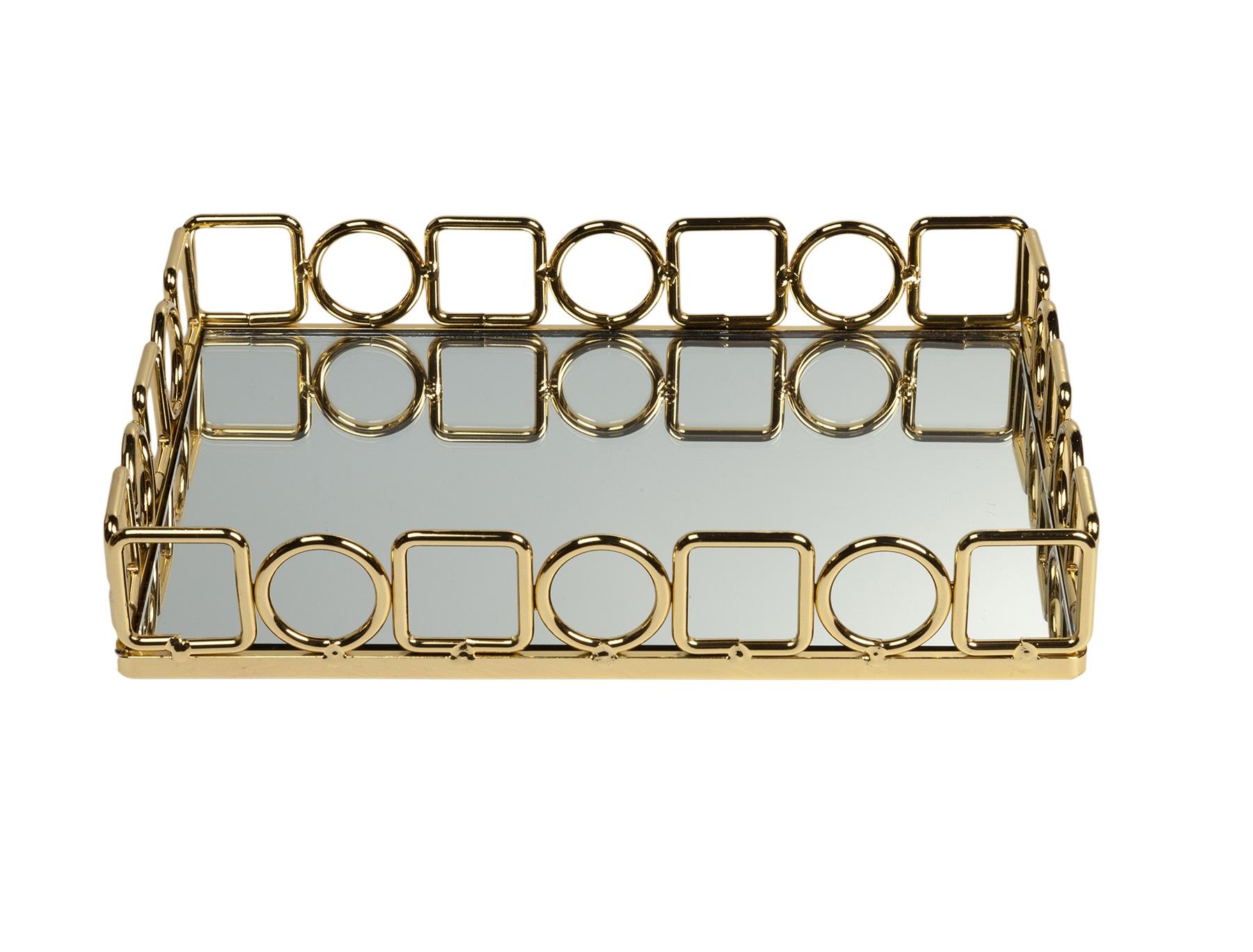 Зеркальный поднос DebraДекоративные подносы<br>Материал: Металл, Зеркало<br><br>Material: Металл<br>Length см: None<br>Width см: 29,5<br>Depth см: 22<br>Height см: 5