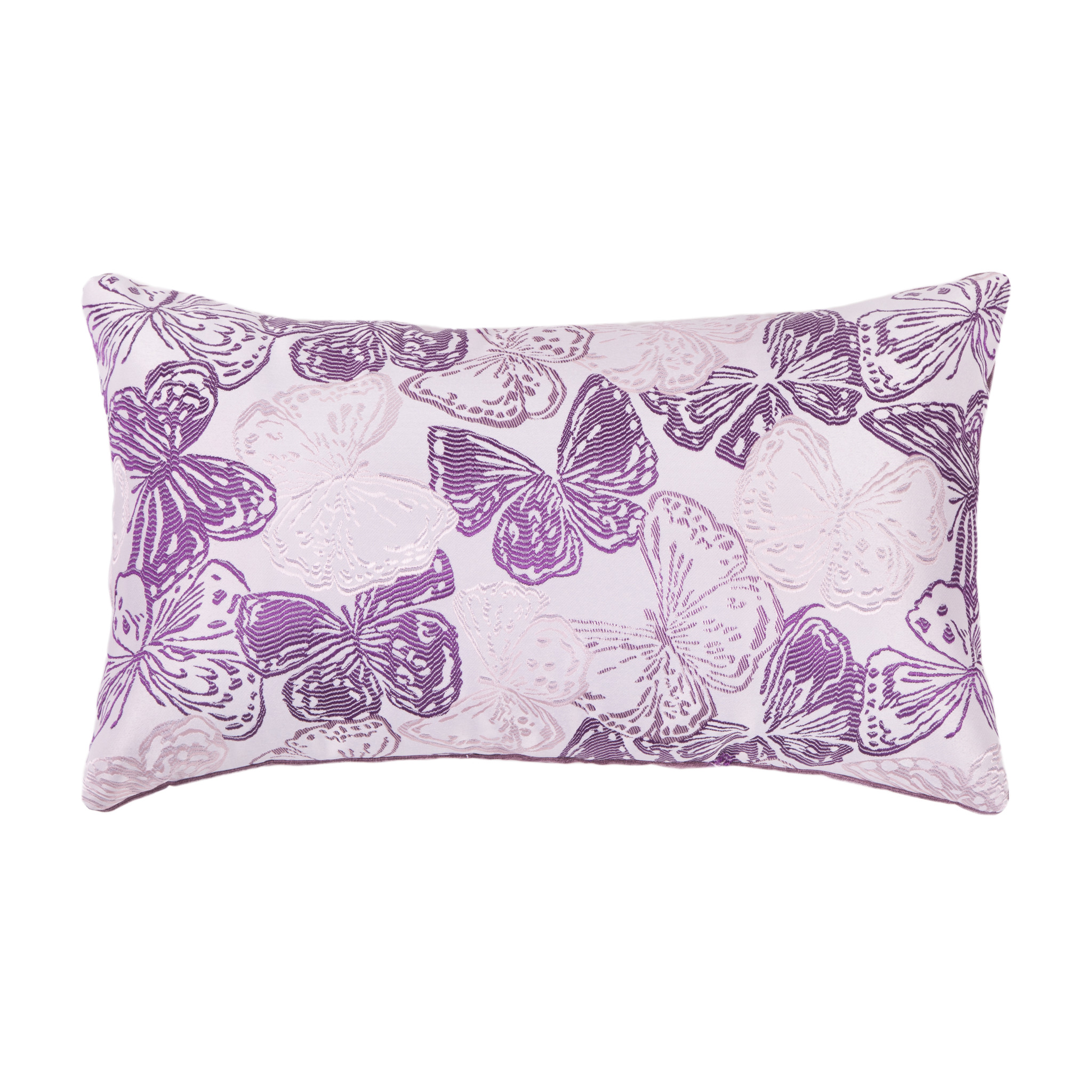 Подушка Фиалковые бабочкиПрямоугольные подушки и наволочки<br>Двусторонняя декоративная подушка &amp;quot;Фиалковые бабочки &amp;quot; станет ярким акцентом в вашем интерьере. На одной стороне принт с красочными бабочками сочно-фиолетовый и нежно-сиреневых тонов, на другой стороне - нежный велюр сделают пространство комнаты веселым и радостным.  Высококачественный материал приятен для кожи и безопасен даже для самой чувствительной кожи.  Оригинальный дизайнерский принт сделает пространство стильным и своеобразным.  Красивый рисунок на ткани станет ярким акцентом в вашем декоре.<br><br>Material: Текстиль<br>Ширина см: 50<br>Высота см: 30<br>Глубина см: 10